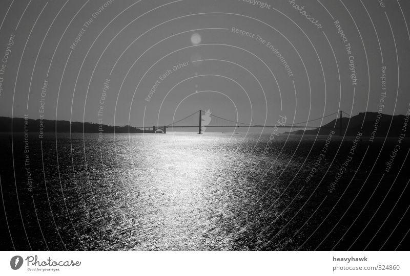 Die Brücke ins Nirgendwo Landscape Water Horizon Summer Warmth Coast Lakeside Ocean Earth Black & white photo Exterior shot Deserted Day Light Shadow Contrast