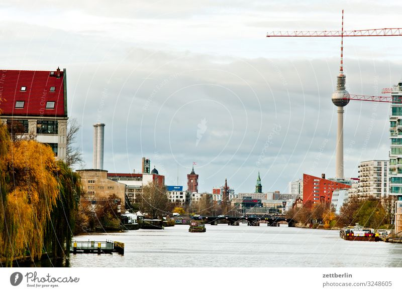Spree in the middle Berlin Capital city City Berlin TV Tower Building House (Residential Structure) Autumn Deserted Downtown Berlin Skyline Town Copy Space