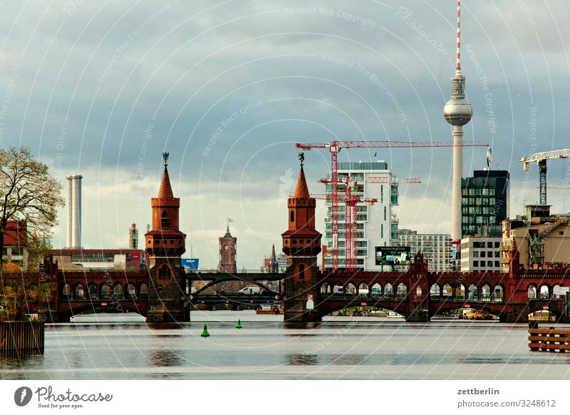 Oberbaum Bridge Berlin City Berlin TV Tower Building Capital city House (Residential Structure) Autumn Deserted Downtown Berlin Oberbaumbrücke Rotes Rathaus