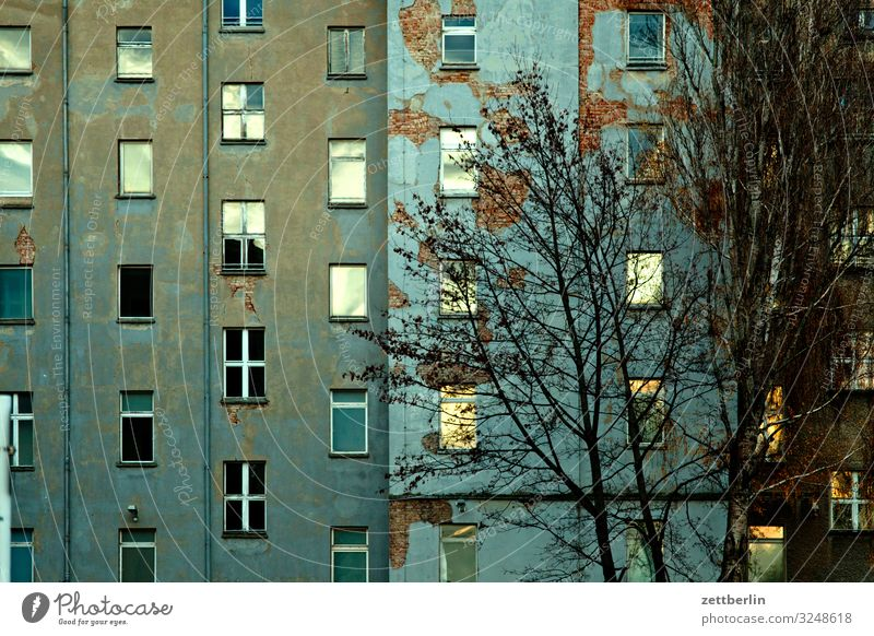 Facade at dusk Berlin City Downtown Building Capital city House (Residential Structure) Autumn Deserted Downtown Berlin Town Copy Space City life