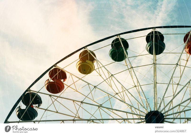 Ferris wheel Sky Vacation & Travel Summer Sun Relaxation Calm Clouds Joy Emotions Playing Happy Park Leisure and hobbies Lifestyle Tall Round