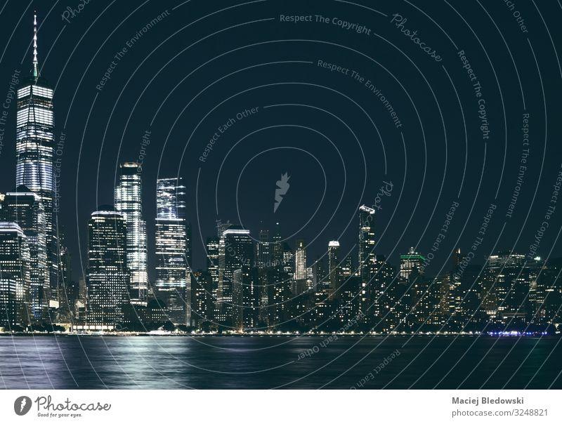 Manhattan panorama at night, USA. Lifestyle Shopping Luxury Elegant Design Money Vacation & Travel Sightseeing City trip Living or residing Flat (apartment)