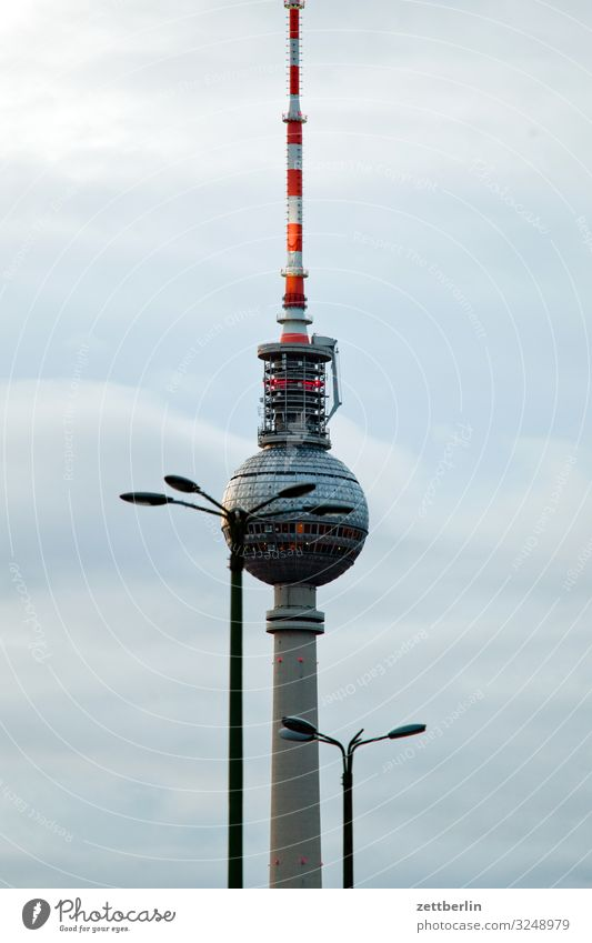 A television tower and two lanterns Berlin City Berlin TV Tower Building Capital city House (Residential Structure) Autumn Deserted Downtown Berlin Skyline Town