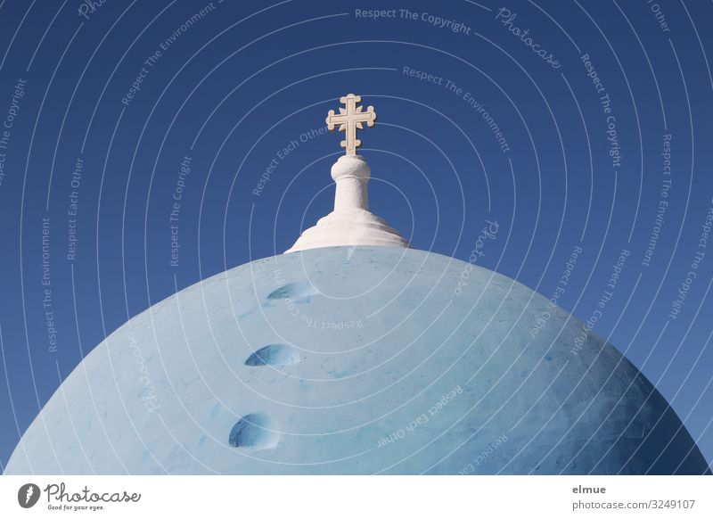 FAITH Vacation & Travel Greek Santorini Village Church Architecture Crucifix Sphere Bright Historic Round Blue Romance Orderliness Hope Belief Death Esthetic