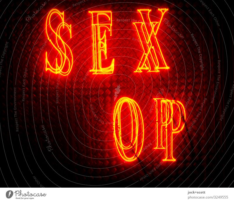 SEX (SH)OP Trade Neon sign Capital letter Typography Broken Red Design Services Eroticism Double exposure Shop window Isolated Image Night Low-key Silhouette