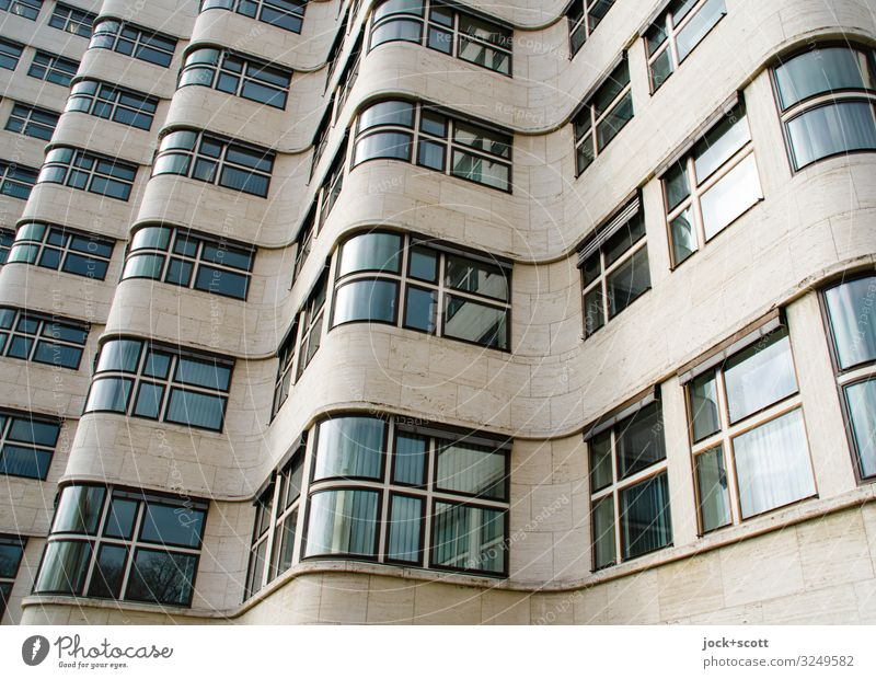 Functional wave of a facade Architecture Objectivity Berlin zoo Office building Facade Window Tourist Attraction Exceptional great Original Retro Many Brown