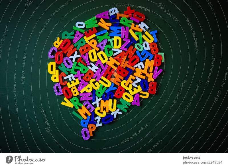 lost in the alphabet, flash of inspiration Parenting Education Study Blackboard Collection Speech bubble Characters Think To talk Uniqueness Small Nerdy Many