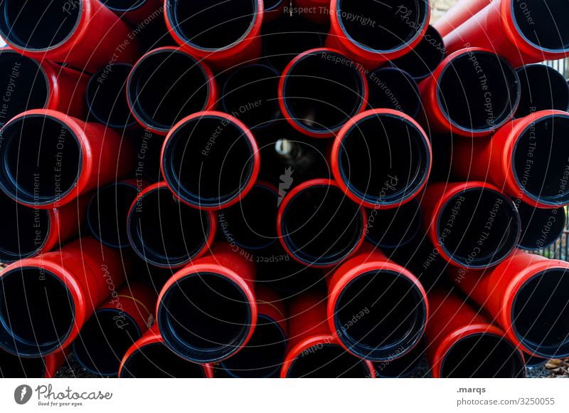 tubes Construction site Pipe Build Many Red Black Arrangement Conduit Colour photo Exterior shot Pattern Structures and shapes Deserted