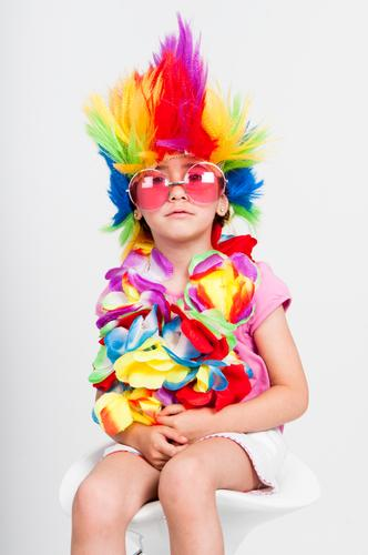 Funny little girl in disguise with wig and sunglasses Joy Happy Face Entertainment Feasts & Celebrations Human being Feminine Child Girl Infancy 1 3 - 8 years