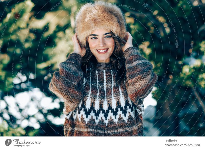 Young woman enjoying the snowy mountains in winter Woman Human being Nature Youth (Young adults) Beautiful White Joy Forest Winter Mountain 18 - 30 years Face