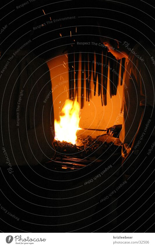 Man Old Blaze Industrial Photography Hot Historic Iron Embers Workshop Medieval times Incandescent Conventional Smithy