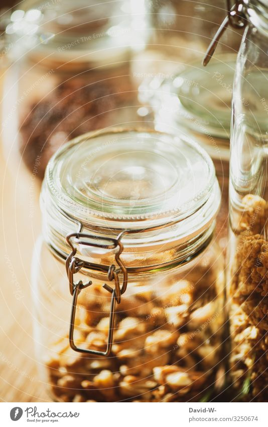 keep in glass containers Sustainability sustainability preserving jars Preserving jar nuts Oat flakes Keep storage container Containers and vessels Colour photo
