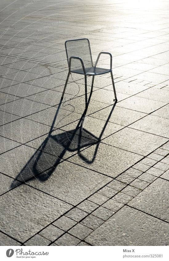 shadow Chair Deserted Places Marketplace Sit Individual Shadow play Garden chair Wait Colour photo Subdued colour Exterior shot Pattern Copy Space left