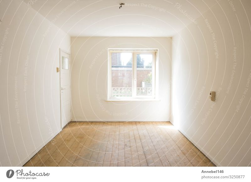 empty white room with wooden parquet floor before renovation Lifestyle Luxury Design Flat (apartment) House (Residential Structure) Decoration Table Nature