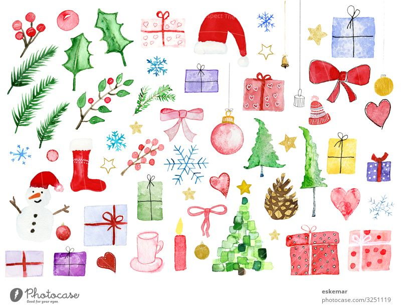 Nature Christmas & Advent Plant White Tree Winter Feasts & Celebrations Art Decoration Heart Gift Paper Many Kitsch Painting and drawing (object) Collection