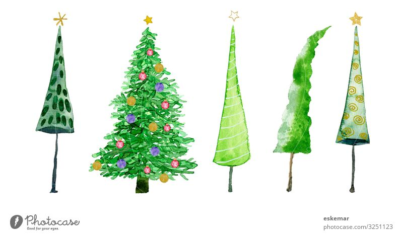 Christmas & Advent Plant Beautiful Green White Tree Art Decoration Multiple Esthetic Stars Paper Illustration Many Painting and drawing (object) Christmas tree
