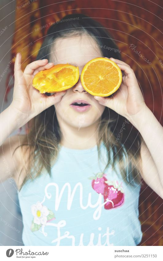 Oh, dear little fruit. Child Girl Face Eyes Concealed Fruit Orange salubriously Vitamin Vitamin C freshly-squeezed Juice Orange juice Healthy Eating