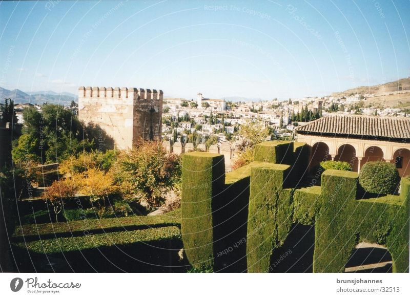 Alhambra Spain South Green Summer Moor Europe Nature Sun Architecture