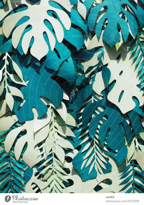uncontrolled growth Style Art Work of art Collection Paper Low-cut Leaf Leaf canopy hotchpotch Many Crazy Wild Blue Turquoise White Replication Muddled