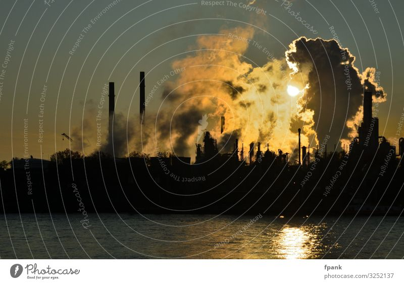 Industrial romanticism at the river Environment Water Sky Climate Climate change River bank Industrial plant Chimney Dark Environmental pollution