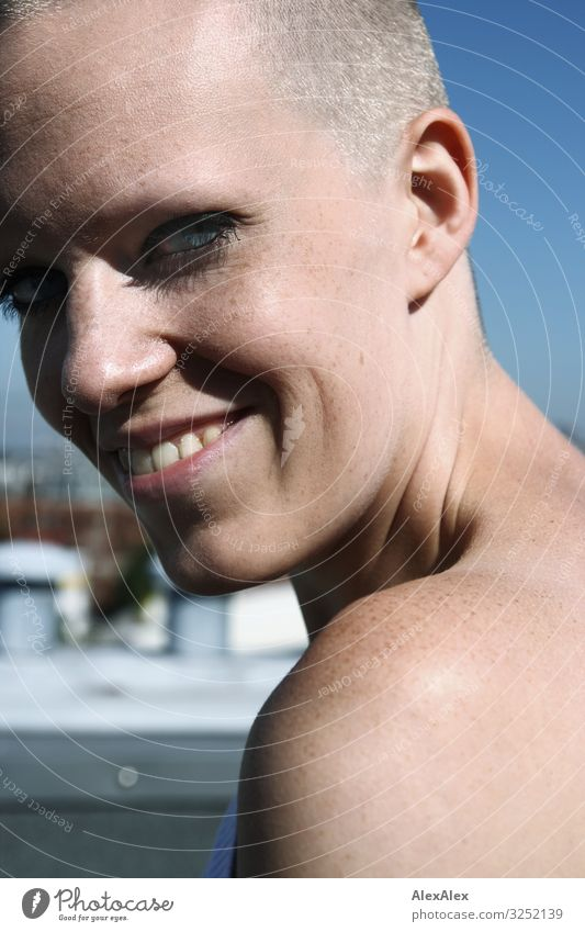 Side portrait of a young woman with freckles and dimples smiling looking over her shoulder pretty Life Young woman Youth (Young adults) Shoulder Face pit