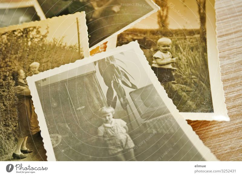 old paper pictures with rippled edge from the 1960s showing a toddler Leisure and hobbies Take a photo paper image Analog Toddler Infancy Lie Old Historic Retro