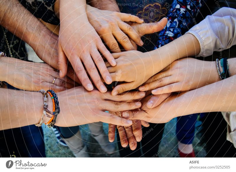 Multi generation family hands Child Youth (Young adults) Old Hand Adults Love Family & Relations Group Together Skin Fingers Touch Protection Mother Attachment