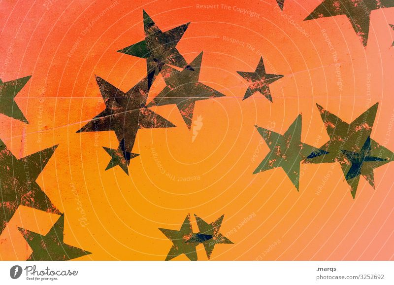 Advent Event Feasts & Celebrations Christmas & Advent Star (Symbol) Beautiful Trashy Green Orange Black Pensive Background picture Warmth Colour photo Abstract