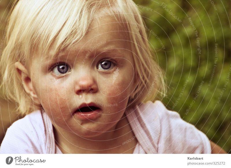 Human being Child Nature Summer Girl Life Sadness Movement Spring Head Garden Blonde Infancy Observe Hope Curiosity