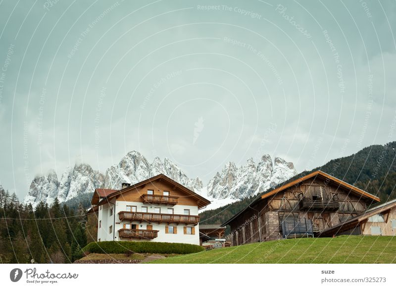 Sky Nature Vacation & Travel Summer Landscape House (Residential Structure) Forest Environment Mountain Meadow Climate Idyll Authentic Living or residing Beautiful weather Peak