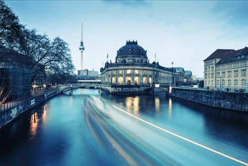 Evening view, past the Bode Museum to the Berlin TV Tower, long exposure Remote Set Tower Twilight Spree River Water Long-term exposure Historic worth seeing