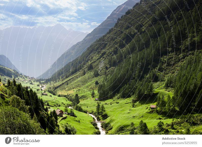 Picturesque idyllic mountain landscape in Switzerland picturesque meadow peak scenery alps switzerland green nature tourism rural summer grass amazing
