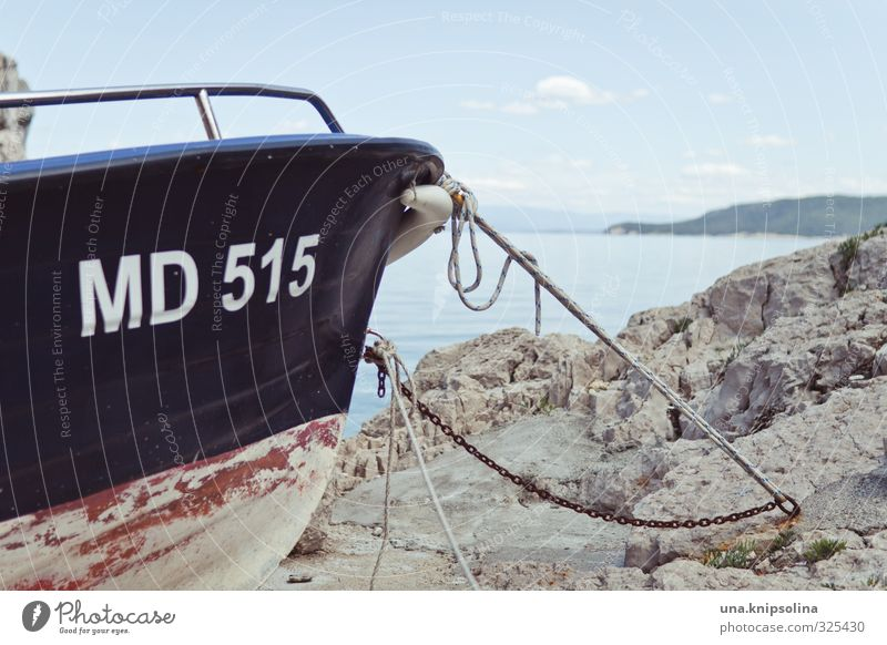 MD515 Vacation & Travel Trip Summer vacation Rock Coast Ocean Navigation Motorboat Harbour Rope Watercraft Dry Blue Red Stagnating Colour photo Exterior shot