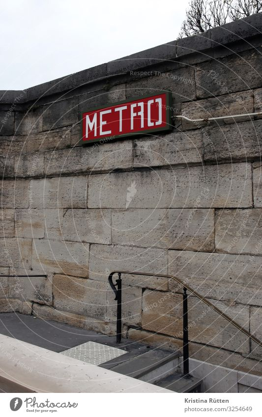 METRO Paris Town Capital city Deserted Wall (barrier) Wall (building) Facade Transport Means of transport Public transit Underground Tourism Logistics