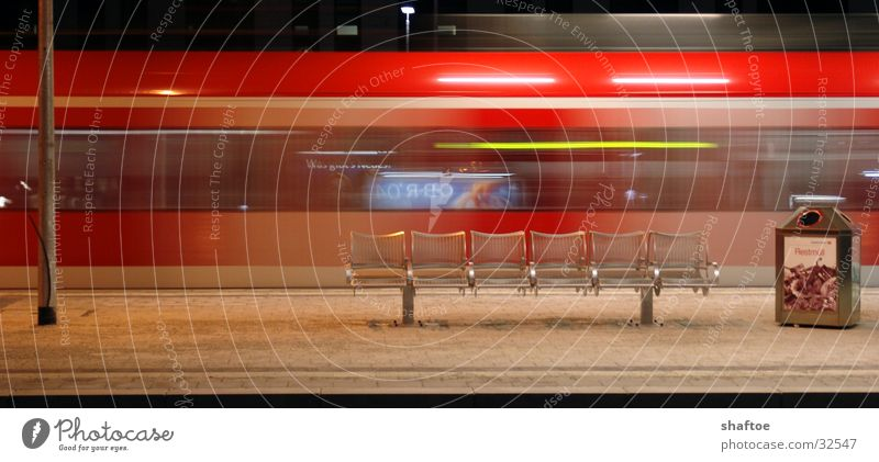 Sausebahn Commuter trains Speed Platform Transport Railroad Train station Bench Seating Movement