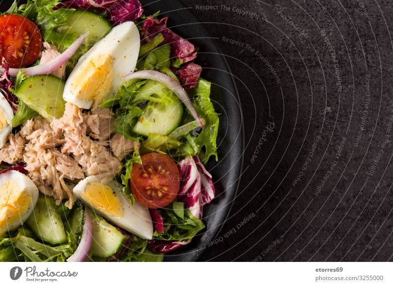 Salad with tuna, egg and vegetables on black background Vegetable Tuna fish Egg Tomato Lettuce Black Plate Onion Cucumber Slice Mixed Olive oil Healthy Eating