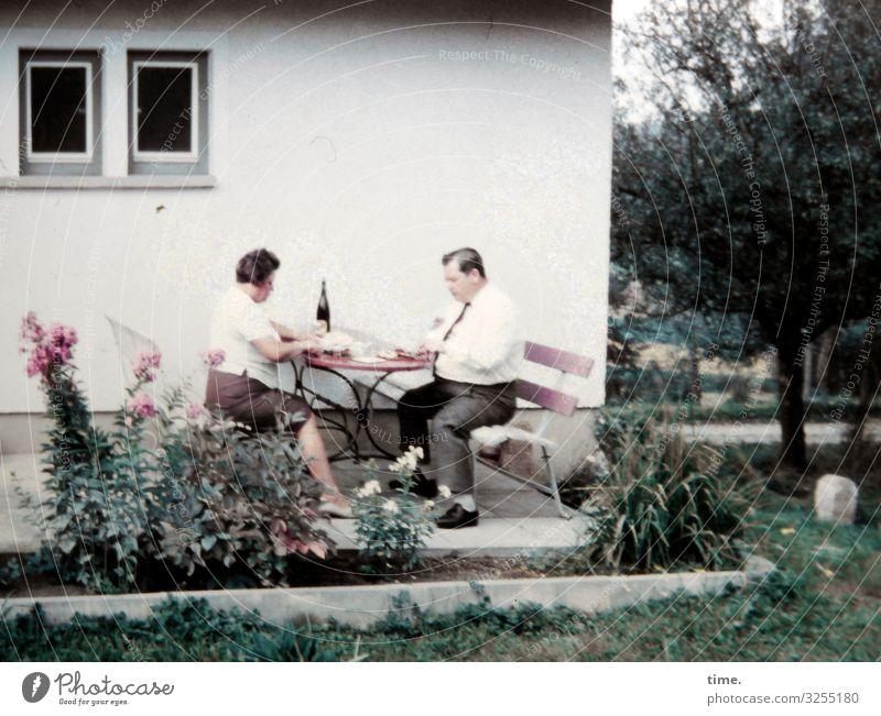 meal Eating Living or residing Flat (apartment) Garden Furniture Masculine Feminine Woman Adults Man 2 Human being Shirt Skirt Pants Communicate Sit Together