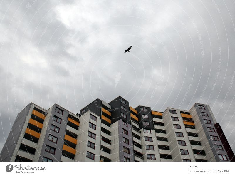 observation flight Sky Clouds Storm clouds Wind Hannover Downtown High-rise Manmade structures Architecture Facade Balcony Window Roof Flying Esthetic Dark