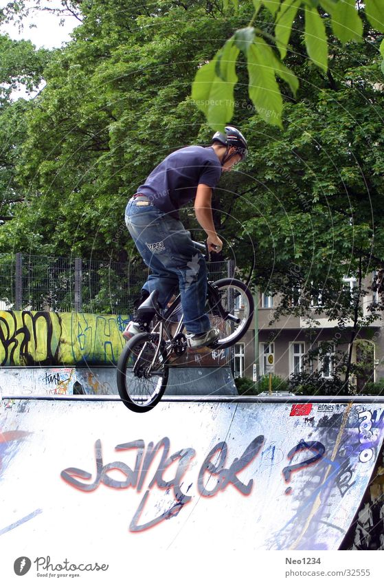 BMX_Stunt Man Bicycle Ramp Spring Jump Extreme sports BMX bike Sports Exterior shot