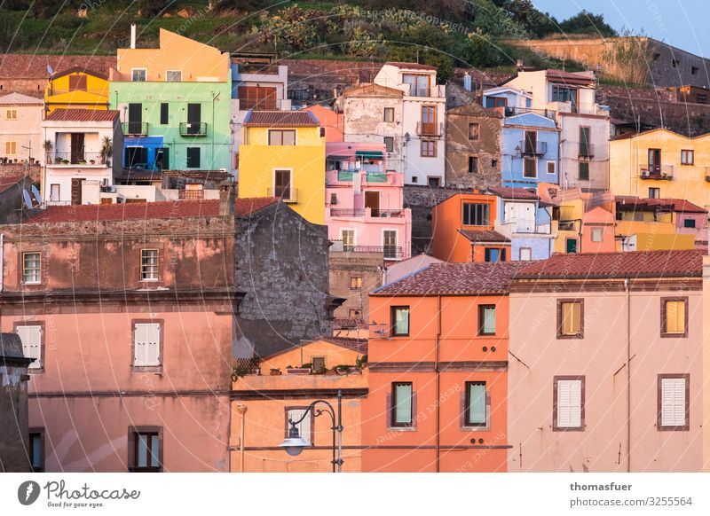 picturesque old town in Italy Vacation & Travel Summer pink Sardinia Small Town Downtown Old town Skyline House (Residential Structure) Design Colour Nostalgia
