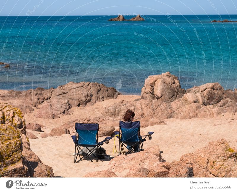 Woman at the beach with empty chair next to her Vacation & Travel Trip Far-off places Freedom Summer Summer vacation Beach Ocean Waves Human being Feminine