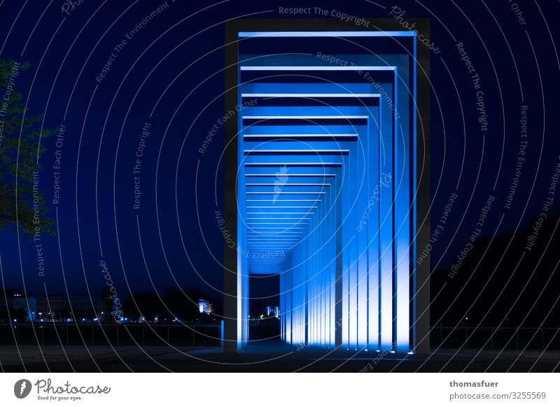 Concrete gates at night, blue Tourism Far-off places Night life Art Architecture Culture Schwerin Mecklenburg-Western Pomerania Town Downtown Park Places Tunnel