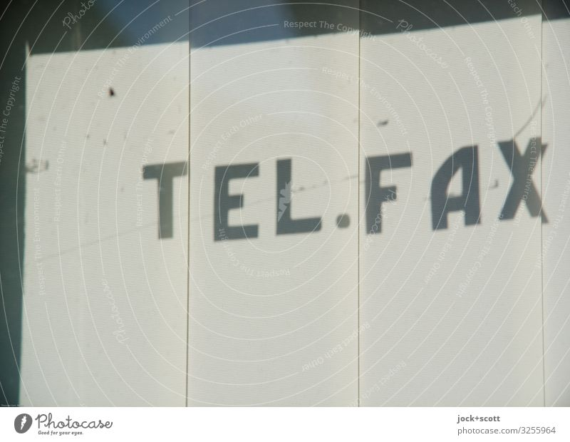 TEL.FAX Design Technology Slat blinds Shop window Characters Stripe Telephone Fax Capital letter Typography Simple White Protection Secrecy Nostalgia