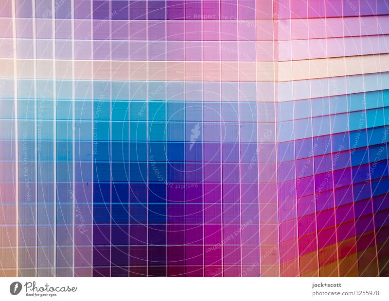 Colour meets tone = check Design Illustration Wood Stripe Network Sharp-edged Many Double exposure Colour value Reaction Multicoloured Detail Abstract Pattern