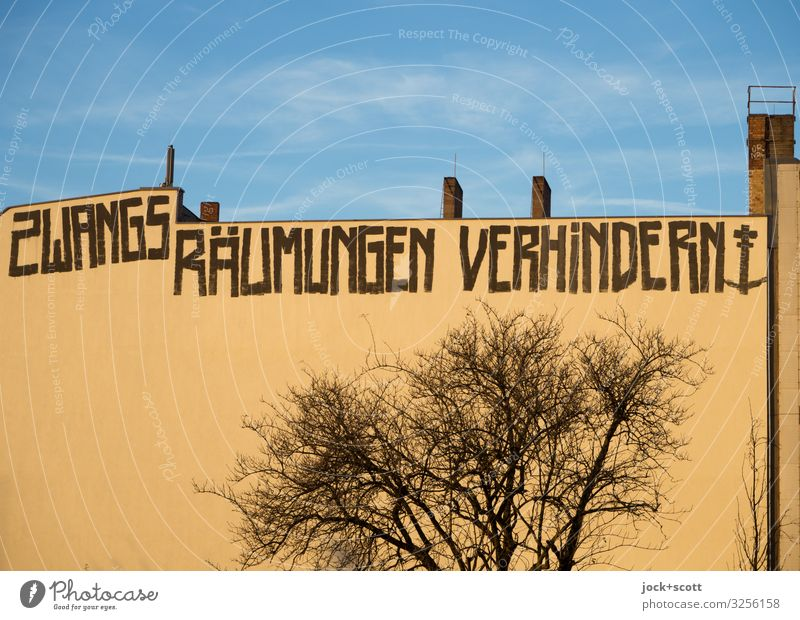 avert an action for eviction Sky Winter Beautiful weather Prenzlauer Berg Real estate market Chimney Fire wall Word Capital letter Above Gloomy Solidarity