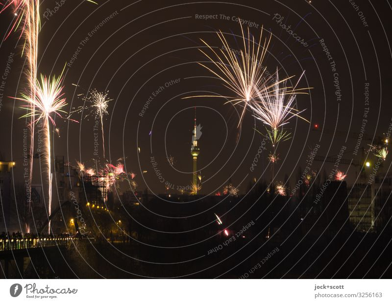 New Year's Eve Joy Night life Cloudless sky Night sky Winter Prenzlauer Berg Berlin TV Tower Firecracker Illuminate Authentic Dark Uniqueness Trashy Town Moody