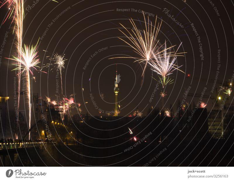 New Year's Eve Town Joy Winter Dark Moody Illuminate Authentic Uniqueness Climate Cloudless sky Euphoria Firecracker Enthusiasm Berlin TV Tower Night life