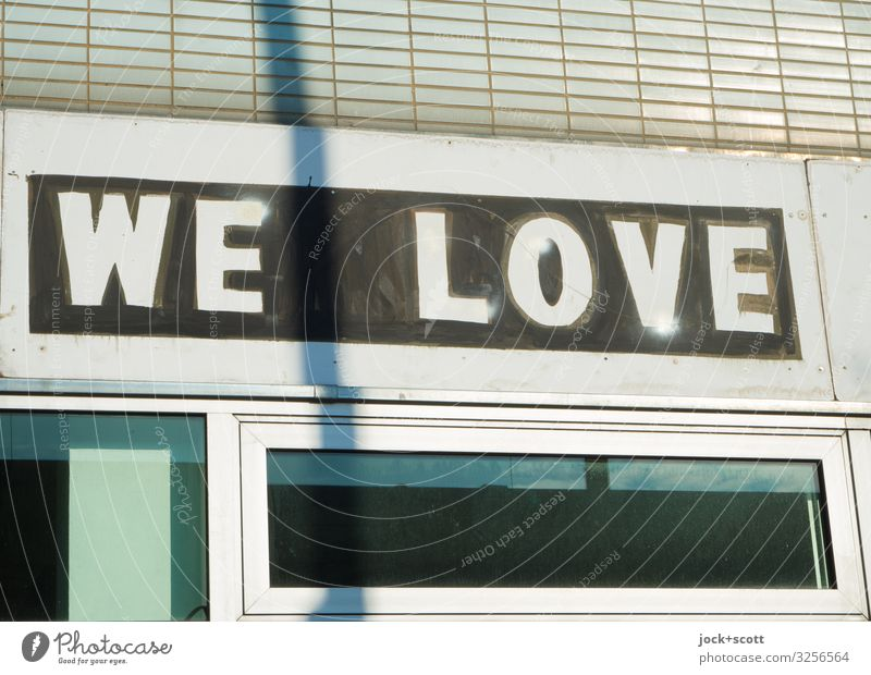 WE LOVE Style deal Downtown Store premises Facade English Capital letter Typography Love Sharp-edged Together Hip & trendy Gloomy Optimism Hospitality