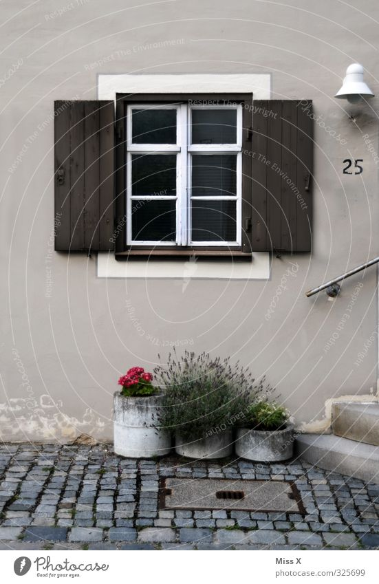 Window IV Living or residing Flat (apartment) House (Residential Structure) Decoration Old town Terrace Door Digits and numbers Shutter Flowerpot Pot plant