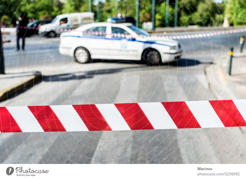 police closing the traffic of the road Transport Street Road sign Car Sign Line String Red White Safety Safety (feeling of) Caution Disaster Tape cassette